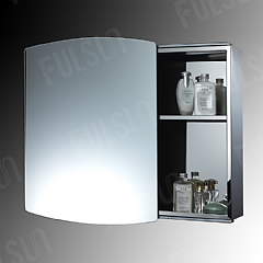 Stainless steel cabinet with sliding mirror door