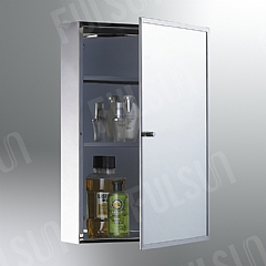 Stainless steel cabinet with thin S/S framed mirrored door