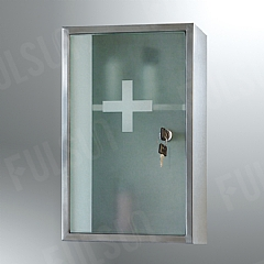 Stainless steel cabinet with toughened glass door