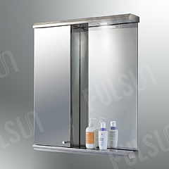 Stainless steel combined unit--Mirror,upper illuminating canopy,bottom bracket,single cabinet with mirrored door