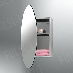 Stainless steel cabinet with pin hinge mirrored door,elliptic mirror