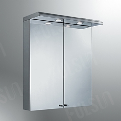illuminated Stainless steel cabinet with thick mirrored door